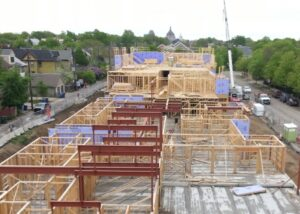 View of development site from construction camera, looking east.
